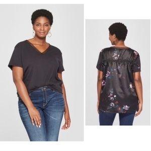 AVA & VIV Floral Back Blouse Plus Size NWOT